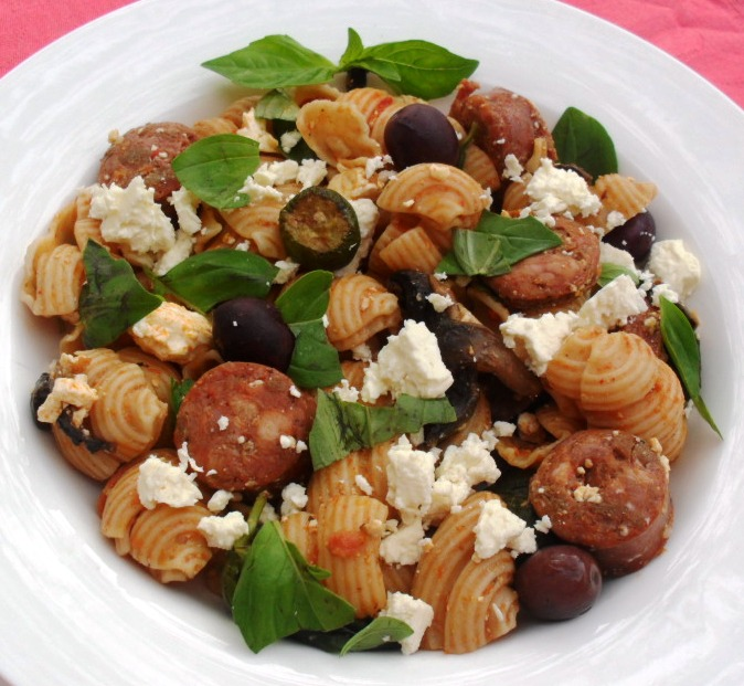 ... pasta with chorizo, feta and basil pasta with chorizo feta and basil