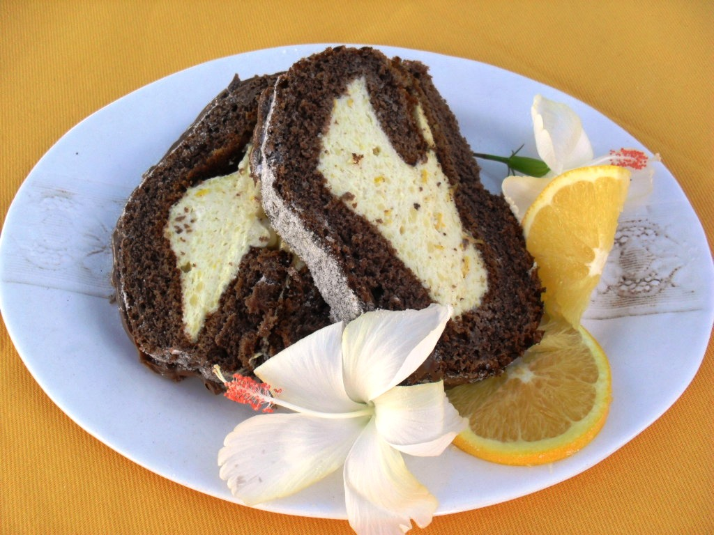 chocolate swiss roll with orange mousse
