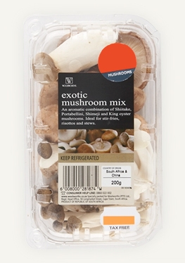 exotic mushrooms from Woolworths