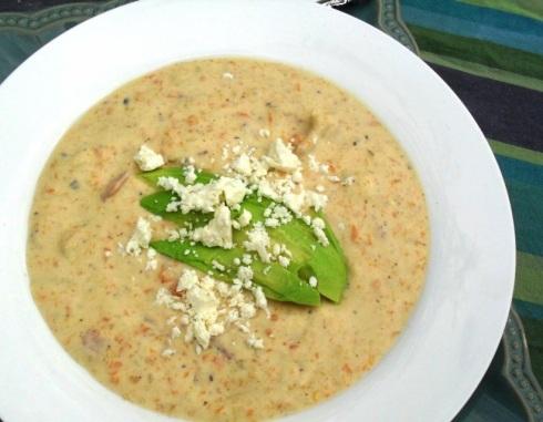 Bacon soup with avocado and feta
